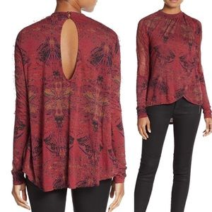 FREE PEOPLE | maroon over lapping top